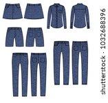 female denim collection.... | Shutterstock . vector #1032688396