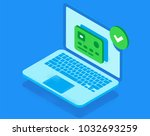 laptop approved your card.... | Shutterstock .eps vector #1032693259