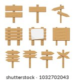 set of wooden signboard and... | Shutterstock . vector #1032702043
