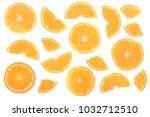 slices of orange or tangerine... | Shutterstock . vector #1032712510