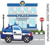 the building of the police...   Shutterstock .eps vector #1032718396