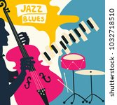 jazz music festival poster with ... | Shutterstock .eps vector #1032718510