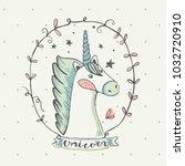 unicorn.cartoon hand drawn... | Shutterstock .eps vector #1032720910