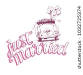just married hand lettering... | Shutterstock .eps vector #1032725374