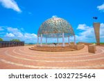 Small photo of The dome of soul of the HMAS Sydney II Memorial in Geraldton, on hill in the middle of town, Western Australia. Sunny day with blue sky. Famous site in Geraldton.
