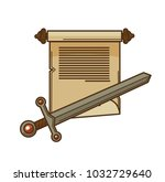 manuscript scroll and ancient... | Shutterstock .eps vector #1032729640