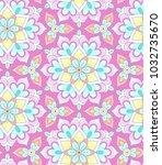 pastel floral rosettes on pink... | Shutterstock .eps vector #1032735670
