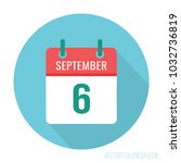 september 6 calendar icon flat... | Shutterstock .eps vector #1032736819