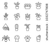 house plants icon set. flower... | Shutterstock .eps vector #1032747808
