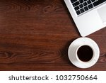 notebook with hot coffee on... | Shutterstock . vector #1032750664