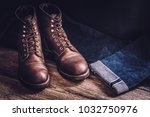 men's leather shoes and jeans | Shutterstock . vector #1032750976