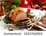 christmas baked ham  served on... | Shutterstock . vector #1032760003