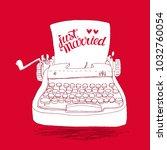 retro typewriter with hand... | Shutterstock .eps vector #1032760054