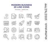 modern business line icons | Shutterstock .eps vector #1032762799