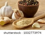 composition of powder spices on ... | Shutterstock . vector #1032773974