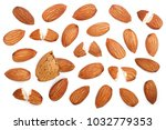 almonds isolated on white... | Shutterstock . vector #1032779353
