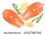 slice of red fish salmon with... | Shutterstock . vector #1032780760