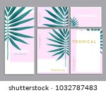 pink and green tropical palm... | Shutterstock .eps vector #1032787483