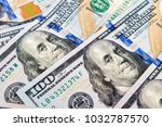 new one hundred dollar bills...   Shutterstock . vector #1032787570