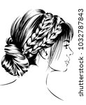 women with messy braid hairstyle | Shutterstock .eps vector #1032787843