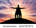 silhouette of happy disabled... | Shutterstock . vector #1032787873