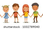 girls and boys holding hands.... | Shutterstock .eps vector #1032789040