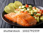 freshly cooked salmon steak... | Shutterstock . vector #1032792559