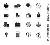 set finance money reflection... | Shutterstock .eps vector #1032793840