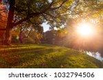 Stock photo sunset in freedom park poland 1032794506
