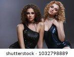 fashion portrait of two slender ...   Shutterstock . vector #1032798889