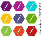 fountain pen icon set many... | Shutterstock .eps vector #1032799990