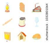 residential building icons set. ... | Shutterstock .eps vector #1032801064