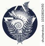 nautilus shell prehistoric... | Shutterstock .eps vector #1032802450