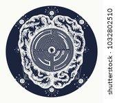 brain and labyrinth tattoo art. ...   Shutterstock .eps vector #1032802510