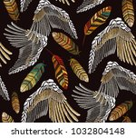 embroidery angel wings and... | Shutterstock .eps vector #1032804148