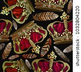 embroidery golden crown and... | Shutterstock .eps vector #1032804220
