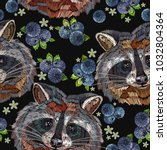 raccoons and bilberry berries... | Shutterstock .eps vector #1032804364