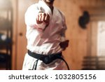 Small photo of Martial arts master on fight training in gym