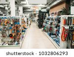 Stock photo pet shop interior shelves with accessories 1032806293