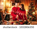 love couple tastes christmas... | Shutterstock . vector #1032806350