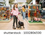 Stock photo little girl with puppy in pet shop friendship 1032806530