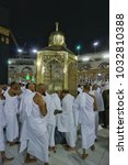 Small photo of Masjidil haram,Mecca-January 28th,2018:Muslim worshipers praying for blessing at the Prophet Abraham tomb during tawaf. Tawaf is one of the umrah process.