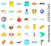 sea aqua icons set. cartoon set ... | Shutterstock .eps vector #1032811363