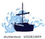 blue silhouette of the pirate... | Shutterstock .eps vector #1032813859