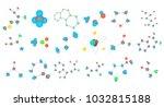 molecule icon set. cartoon set... | Shutterstock .eps vector #1032815188