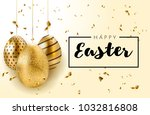 happy easter background with... | Shutterstock .eps vector #1032816808