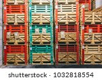 warehouse with many boxes of... | Shutterstock . vector #1032818554