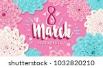 colorful 8 march. vector floral ... | Shutterstock .eps vector #1032820210