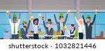 office workers celebrate happy... | Shutterstock .eps vector #1032821446