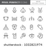 baby theme pixel perfect 48x48... | Shutterstock .eps vector #1032821974